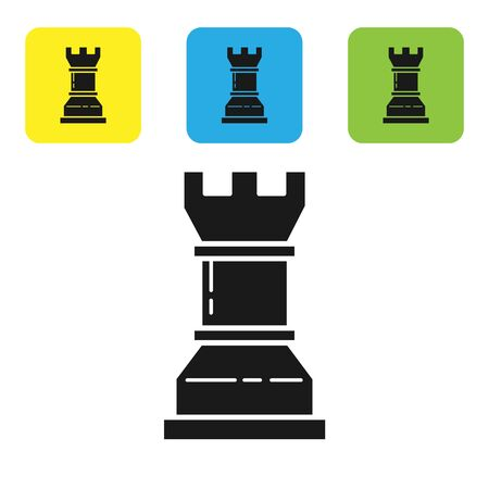 Black Business strategy icon isolated on white background. Chess symbol. Game, management, finance. Set icons colorful square buttons. Vector Illustration