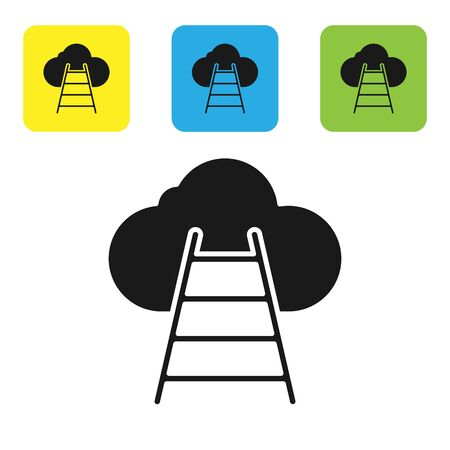Black Ladder leading to cloud icon isolated on white background. Stairs leading to the cloud. Set icons colorful square buttons. Vector Illustration Illustration