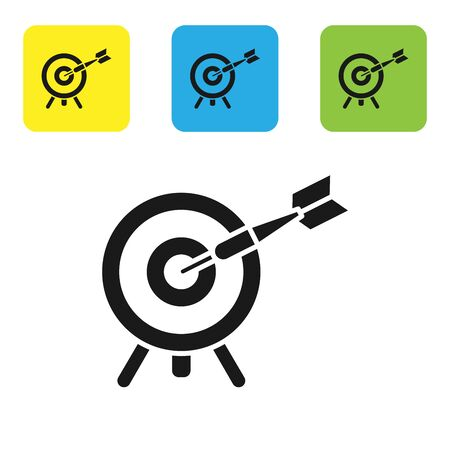 Black Target with arrow icon isolated on white background. Dart board sign. Archery board icon. Dartboard sign. Business goal concept. Set icons colorful square buttons. Vector Illustration