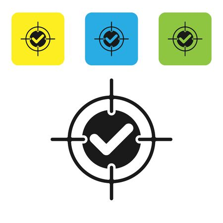 Black Target and check mark icon isolated on white background. Dart board sign. Archery board icon. Dartboard sign. Business goal concept. Set icons colorful square buttons. Vector Illustration