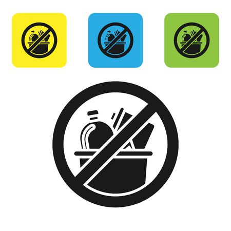 Black No trash icon isolated on white background. Set icons colorful square buttons. Vector Illustration