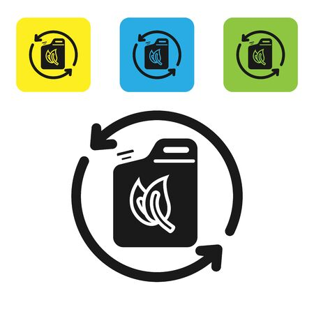 Black Bio fuel canister icon isolated on white background. Eco bio and barrel. Green environment and recycle. Set icons colorful square buttons. Vector Illustration Illustration