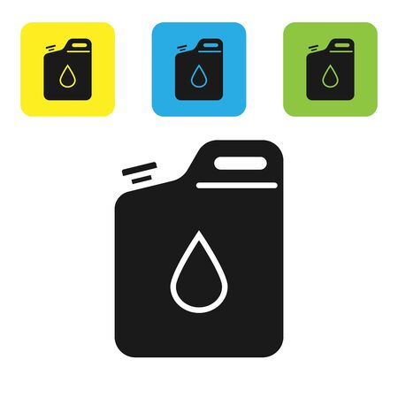 Black Canister for gasoline icon isolated on white background. Diesel gas icon. Set icons colorful square buttons. Vector Illustration Illustration