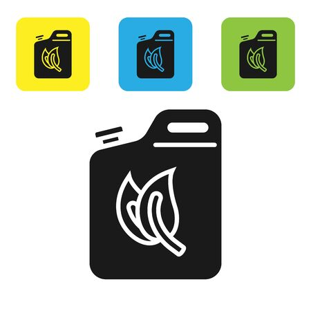 Black Bio fuel canister icon isolated on white background. Eco bio and barrel. Green environment and recycle. Set icons colorful square buttons. Vector Illustration  イラスト・ベクター素材