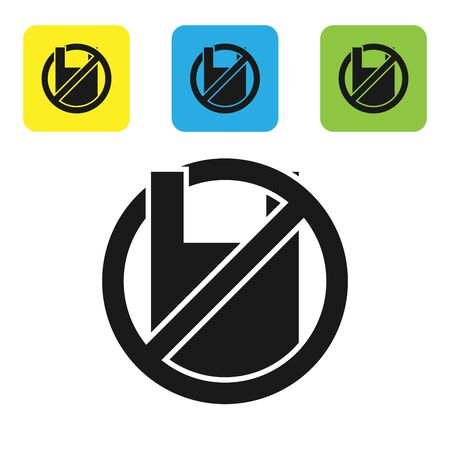 Black Say no to plastic bags poster icon isolated on white background. Disposable cellophane and polythene package prohibition sign. Set icons colorful square buttons. Vector Illustration