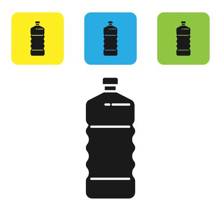 Black Plastic bottle icon isolated on white background. Set icons colorful square buttons. Vector Illustration