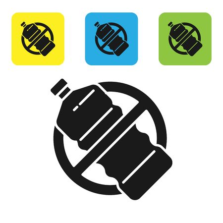 Black No plastic bottle icon isolated on white background. Set icons colorful square buttons. Vector Illustration