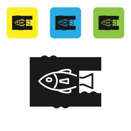 Black Stop ocean plastic pollution icon isolated on white background. Environment protection concept. Fish say no to plastic. Set icons colorful square buttons. Vector Illustration