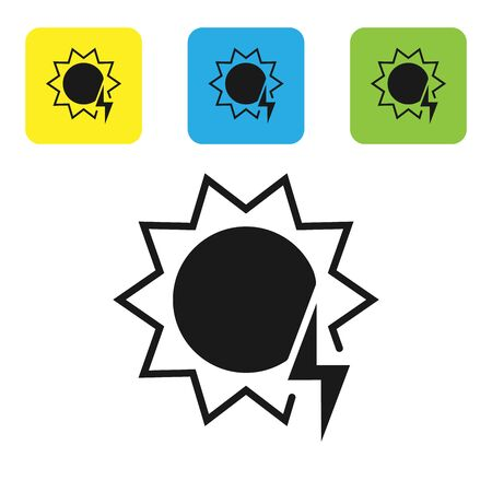 Black Solar energy panel icon isolated on white background. Sun with lightning symbol. Set icons colorful square buttons. Vector Illustration