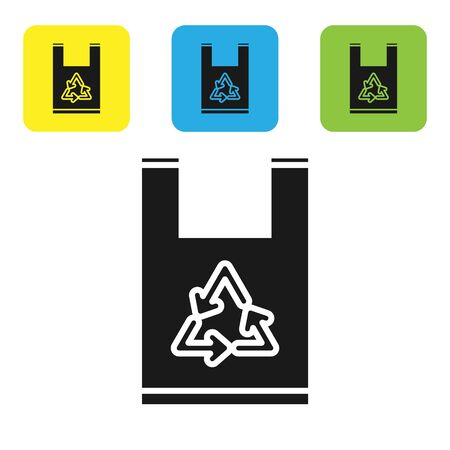 Black Plastic bag with recycle icon isolated on white background. Bag with recycling symbol. Set icons colorful square buttons. Vector Illustration