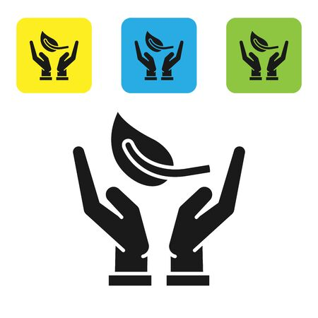 Black Sprout in hand of environmental protection icon isolated on white background. Seed and seedling. Planting sapling. Ecology concept. Set icons colorful square buttons. Vector Illustration