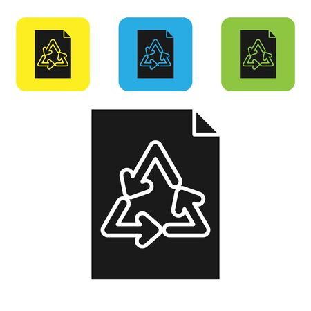 Black Paper with recycle icon isolated on white background. Set icons colorful square buttons. Vector Illustration Çizim