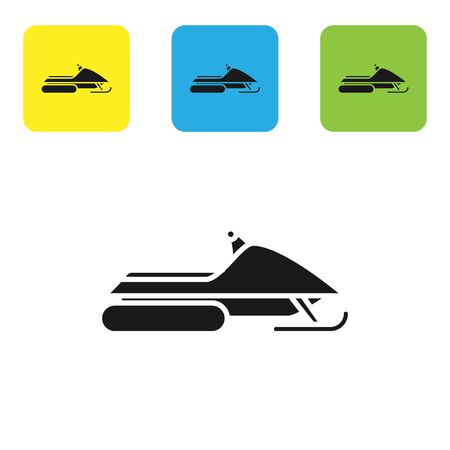 Black Snowmobile icon isolated on white background. Snowmobiling sign. Extreme sport. Set icons colorful square buttons. Vector Illustration