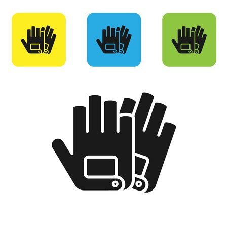 Black Gloves icon isolated on white background. Extreme sport. Sport equipment. Set icons colorful square buttons. Vector Illustration