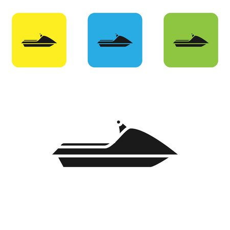 Black Jet ski icon isolated on white background. Water scooter. Extreme sport. Set icons colorful square buttons. Vector Illustration
