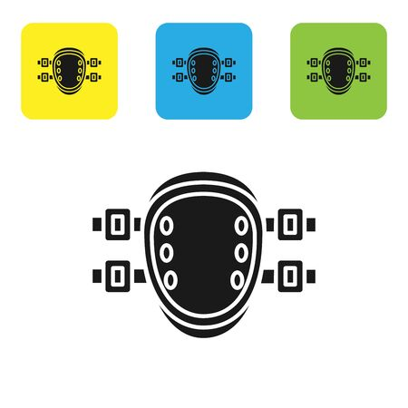 Black Knee pads icon isolated on white background. Extreme sport. Sport equipment. Skateboarding, bicycle, roller skating protective gear. Set icons colorful square buttons. Vector Illustration