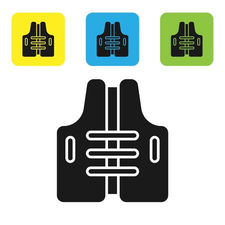 Black Life jacket icon isolated on white background. Life vest icon. Extreme sport. Sport equipment. Set icons colorful square buttons. Vector Illustration