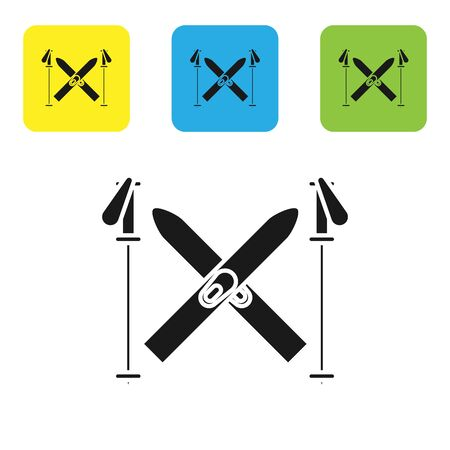 Black Ski and sticks icon isolated on white background. Extreme sport. Skiing equipment. Winter sports icon. Set icons colorful square buttons. Vector Illustration