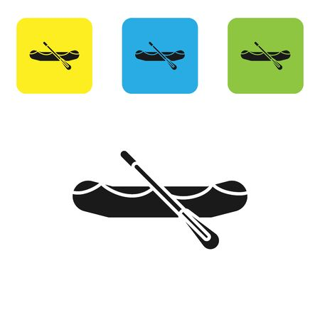 Black Rafting boat icon isolated on white background. Inflatable boat with paddles. Water sports, extreme sports, holiday, vacation. Set icons colorful square buttons. Vector Illustration