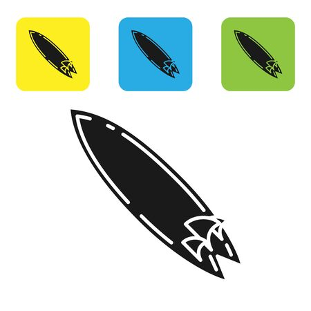 Black Surfboard icon isolated on white background. Surfing board. Extreme sport. Sport equipment. Set icons colorful square buttons. Vector Illustration Stock Illustratie
