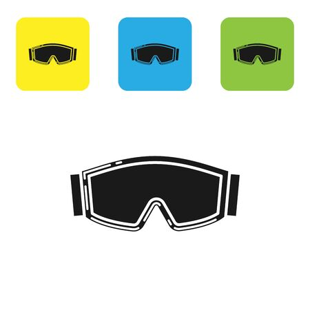 Black Ski goggles icon isolated on white background. Extreme sport. Sport equipment. Set icons colorful square buttons. Vector Illustration Stock Illustratie