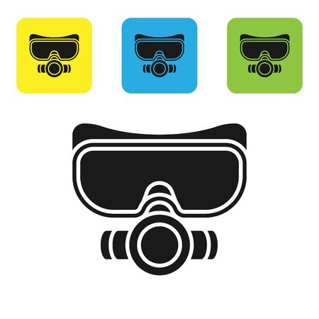 Black Diving mask icon isolated on white background. Extreme sport. Sport equipment. Set icons colorful square buttons. Vector Illustration Stock Illustratie
