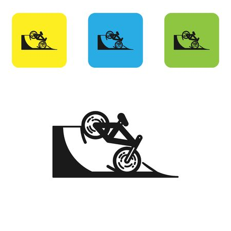 Black Bicycle on street ramp icon isolated on white background. Skate park. Extreme sport. Sport equipment. Set icons colorful square buttons. Vector Illustration