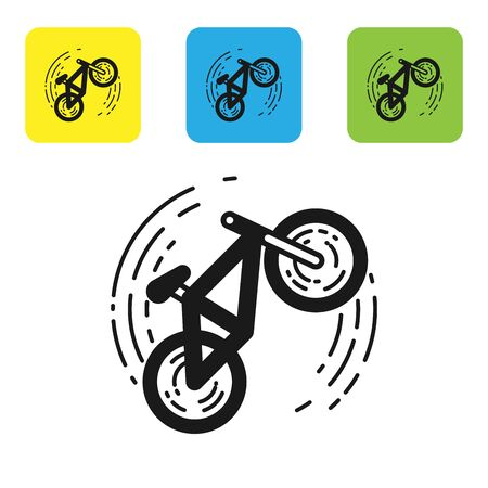 Black Bicycle trick icon isolated on white background. Bike race. Extreme sport. Sport equipment. Set icons colorful square buttons. Vector Illustration