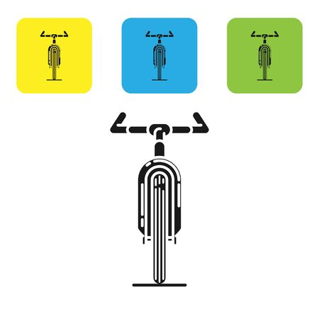 Black Bicycle icon isolated on white background. Bike race. Extreme sport. Sport equipment. Set icons colorful square buttons. Vector Illustration Ilustração
