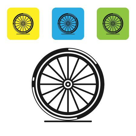 Black Bicycle wheel icon isolated on white background. Bike race. Extreme sport. Sport equipment. Set icons colorful square buttons. Vector Illustration Stock Illustratie