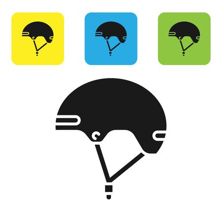 Black Helmet icon isolated on white background. Extreme sport. Sport equipment. Set icons colorful square buttons. Vector Illustration Ilustração