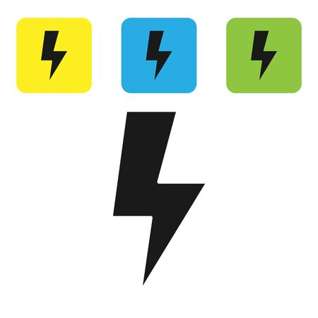 Black Lightning bolt icon isolated on white background. Flash sign. Charge flash icon. Thunder bolt. Lighting strike. Set icons colorful square buttons. Vector Illustration