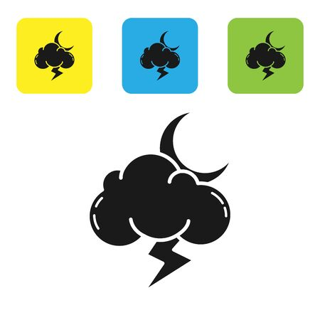 Black Storm icon isolated on white background. Cloud with lightning and moon sign. Weather icon of storm. Set icons colorful square buttons. Vector Illustration
