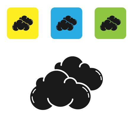 Black Cloud icon isolated on white background. Set icons colorful square buttons. Vector Illustration