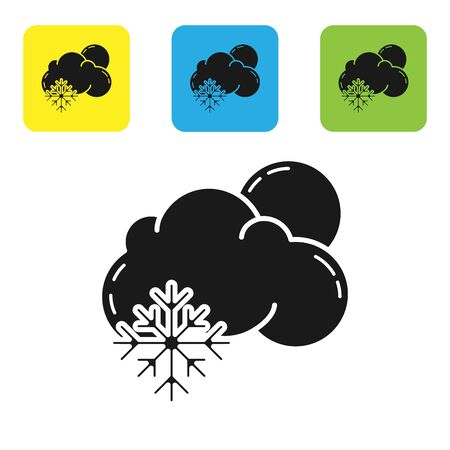 Black Cloud with snow and sun icon isolated on white background. Cloud with snowflakes. Single weather icon. Snowing sign. Set icons colorful square buttons. Vector Illustration Illustration