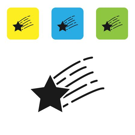 Black Falling star icon isolated on white background. Shooting star with star trail. Meteoroid, meteorite, comet, asteroid, star icon. Set icons colorful square buttons. Vector Illustration