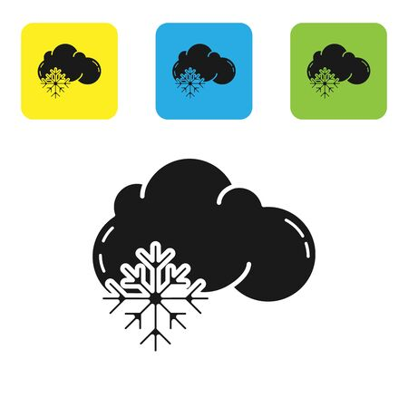 Black Cloud with snow icon isolated on white background. Cloud with snowflakes. Single weather icon. Snowing sign. Set icons colorful square buttons. Vector Illustration Illustration