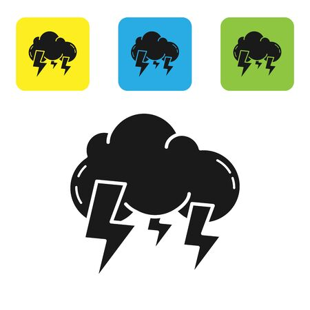 Black Storm icon isolated on white background. Cloud and lightning sign. Weather icon of storm. Set icons colorful square buttons. Vector Illustration Illustration