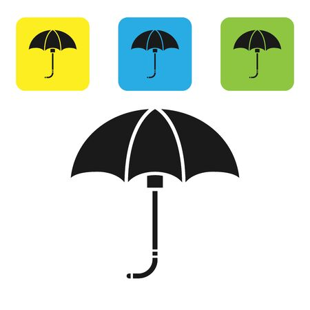 Black Classic elegant opened umbrella icon isolated on white background. Rain protection symbol. Set icons colorful square buttons. Vector Illustration  イラスト・ベクター素材