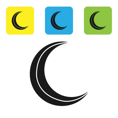 Black Moon and stars icon isolated on white background. Set icons colorful square buttons. Vector Illustration