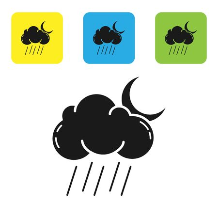 Black Cloud with rain and moon icon isolated on white background. Rain cloud precipitation with rain drops. Set icons colorful square buttons. Vector Illustration