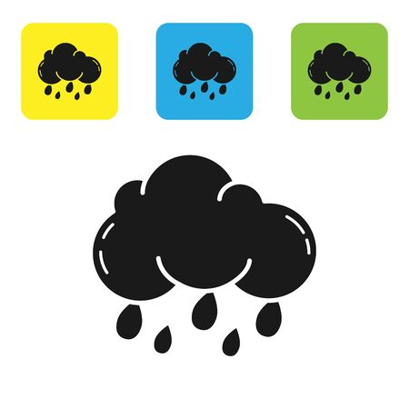 Black Cloud with rain icon isolated on white background. Rain cloud precipitation with rain drops. Set icons colorful square buttons. Vector Illustration