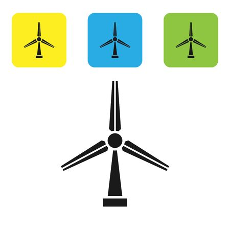 Black Wind turbine icon isolated on white background. Wind generator sign. Windmill silhouette. Windmill for electric power production. Set icons colorful square buttons. Vector Illustration