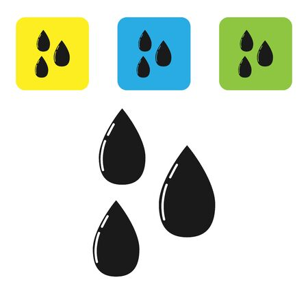 Black Water drop icon isolated on white background. Set icons colorful square buttons. Vector Illustration