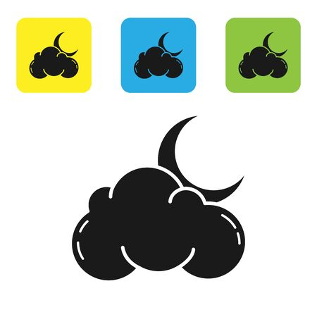 Black Cloud with moon and stars icon isolated on white background. Cloudy night sign. Sleep dreams symbol. Night or bed time sign. Set icons colorful square buttons. Vector Illustration Ilustrace