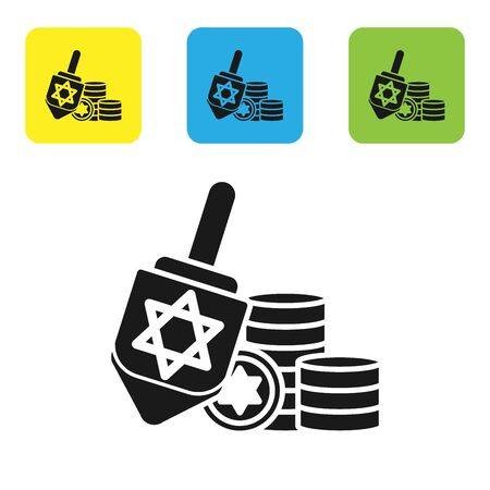 Black Hanukkah dreidel and coin icon isolated on white background. Set icons colorful square buttons. Vector Illustration
