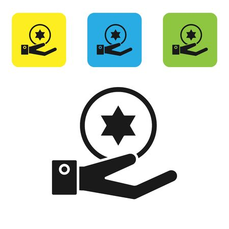 Black Jewish coin on hand icon isolated on white background. Currency symbol. Set icons colorful square buttons. Vector Illustration