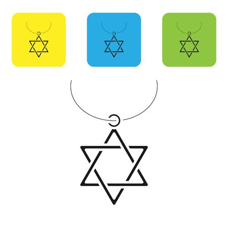 Black Star of David necklace on chain icon isolated on white background. Jewish religion symbol. Symbol of Israel. Jewellery and accessory. Set icons colorful square buttons. Vector Illustration