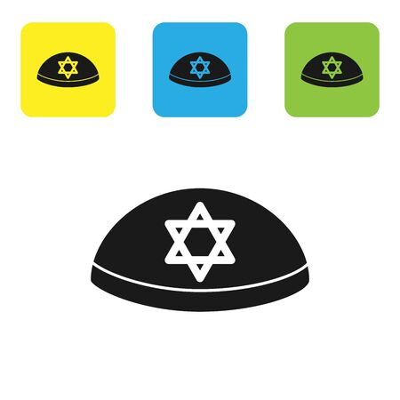 Black Jewish kippah with star of david icon isolated on white background. Jewish yarmulke hat. Set icons colorful square buttons. Vector Illustration