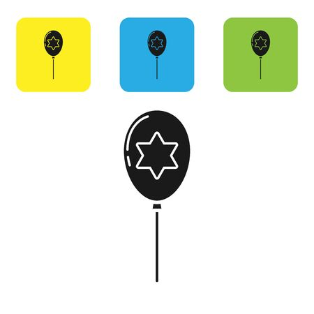 Black Balloons with ribbon with star of david icon isolated on white background. Balloon with israel flag. Set icons colorful square buttons. Vector Illustration